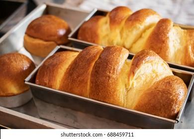 Freshly baked loaf of brioche bread.