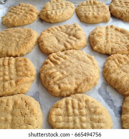 Freshly baked peanut butter cookies on parchment paper