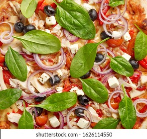 freshly baked pizza background, top view