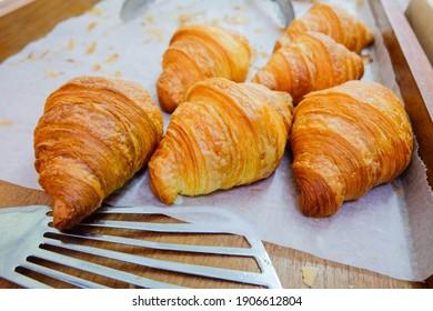 Freshly Baked Plain Croissant. Cafe. Coffee Shop. Food market. Market Stalls. Outdoor market. Food Event. Food Fair. Festival. Bazaar.