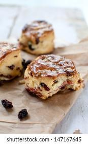 Freshly baked raisins scones