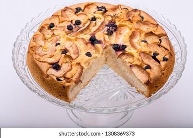 Freshly baked sweet cake with fruit