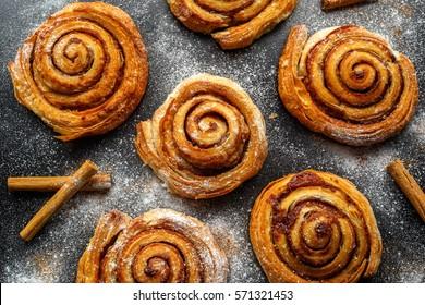 Freshly Baked Traditional Sweet Cinnamon Rolls, Swirl