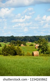 Freshly baled hay sits in fields in rural central Virginia.