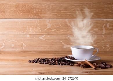 Freshly brewed coffee.  Coffee beans.
