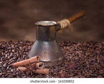 Freshly brewed coffee with cinnamon and anise