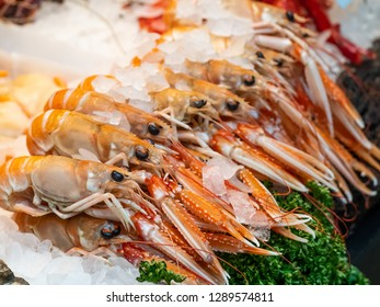 Freshly caught Langoustine's on ice at a fishmongers in London's Borough Market.