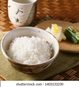 Freshly cooked rice and fresh Japanese pickles, Japanese breakfast.