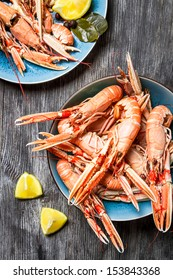 Freshly cooked scampi served with lemon