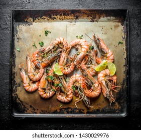 Freshly cooked shrimps. On rustic background