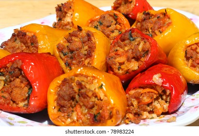 Freshly cooked stuffed peppers