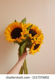 A freshly cut bunch of sunflowers