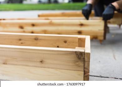 Freshly cut cedar wood flower garden planter boxes
