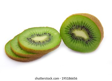 Freshly cut kiwi fruit on white background.