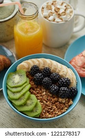 Freshly delicious healthy breakfast served on wooden table. Healthy food