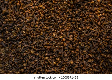 Freshly dryed clove spice texture close up.