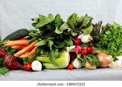 Freshly gathered Vegetables on display for soups, main course, and salad