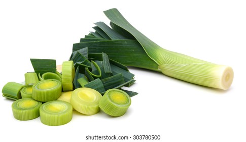 freshly green leek on white background