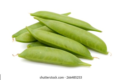 freshly green sugar snap peas on white background
