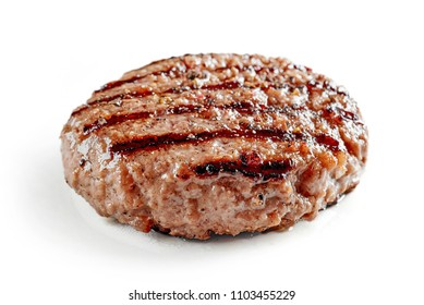 freshly grilled burger meat isolated on white background
