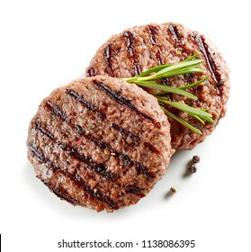 freshly grilled burger meat isolated on white background, top view