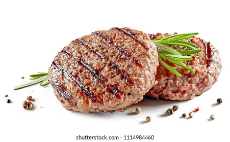 freshly grilled burger meat with spices isolated on white background
