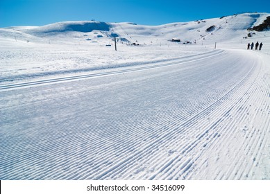 Freshly Groomed Cross Country Ski Trail,  Falls Creek, Victoria, Australia
