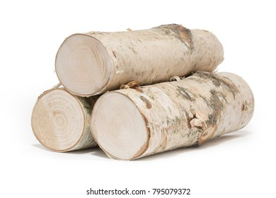 Freshly harvested birch wood, isolated
