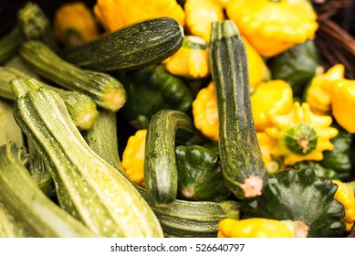 freshly harvested, delicious organic summer squashes (pattypan squash and zucchini) in a basket at farmers market in Vancouver, BC. horizontal, close up