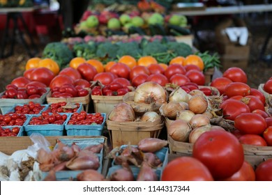 Freshly harvested Vegetables and Fruit Closeup at the Farmer's Market