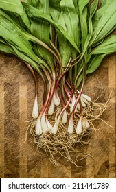 Freshly harvested wild ramps on a cutting board