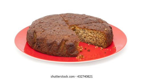 freshly made banana cake isolated on white background