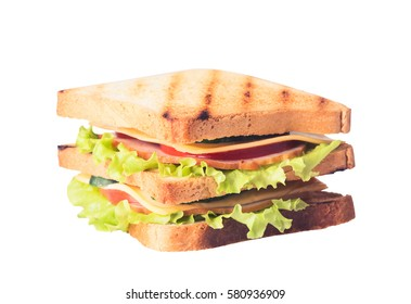 Freshly made clubsandwiches served on a white background .