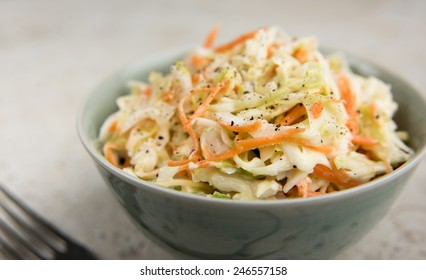 Freshly Made Coleslaw in Bowl