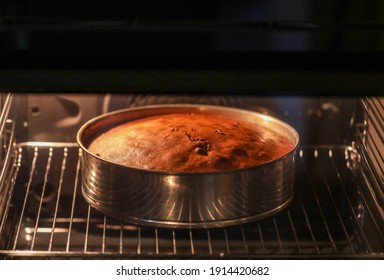 Freshly made homemade cake in the domestic oven