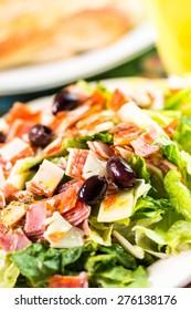Freshly made Italian Chopped Salad in Italian restaurant.