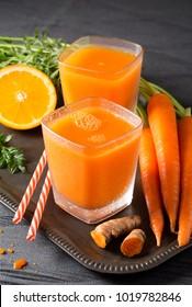 Freshly Made Organic Carrot-Orange Juice