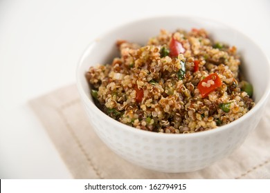 Freshly Made Quinoa Tabouli in Simple White Bowl