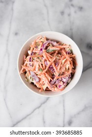 Freshly Made Red Cabbage and Carrot Coleslaw Salad