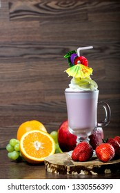 freshly made smoothies on the table surrounded by ingredients