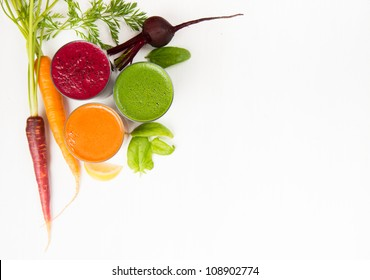 Freshly Made Vegetable Juices, Carrot, Beet, and Greens