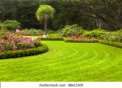 Freshly mowed lawn in a formal garden.
