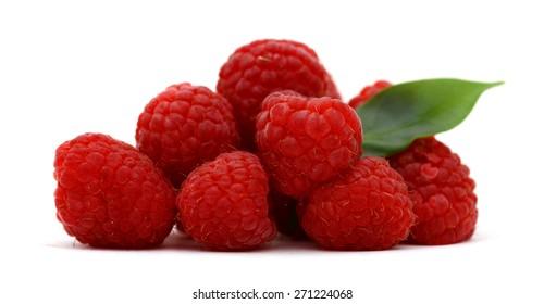 freshly natural raspberries on white background