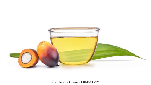 Freshly Oil Palm seed and cut in half and green leaf with cooking palm oil in glass bowl isolated on white background