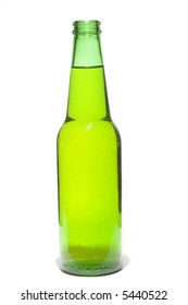 Freshly opened green bottle of beer isolated on a white background.