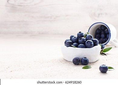 Freshly picked blueberries in a white vintage ceramic bowl. Selective focus, Free text space.