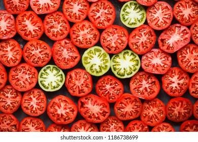 Freshly picked heirloom tomatoes Slices of heirloom tomatoes
