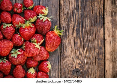 Freshly picked juicy organic strawberries on rustic wooden table surface with copy space.