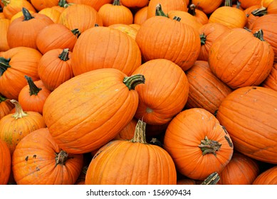 Freshly picked large orange pumpkins in a pile.  Horizontal orientation.  A great background image.