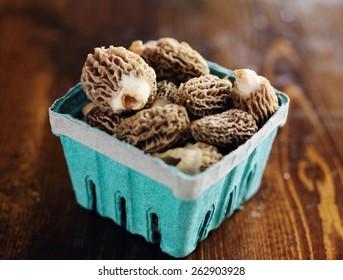 freshly picked morel mushrooms in basket